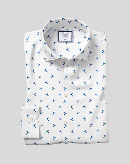 Business Casual Collar Non-Iron Hummingbird Printed Shirt - Teal