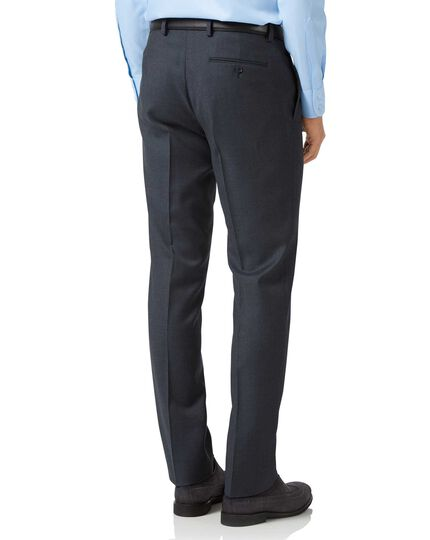 Steel blue slim fit twill business suit pants