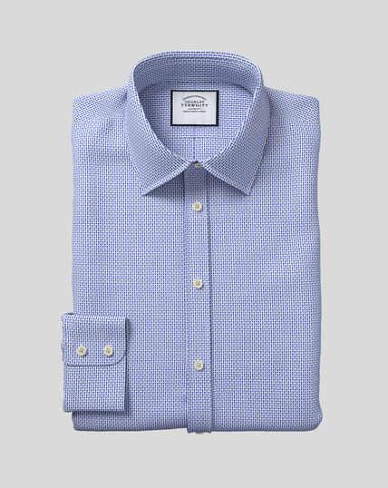 Hemd mit strukturiertem Design und Kent-Kragen - Blau