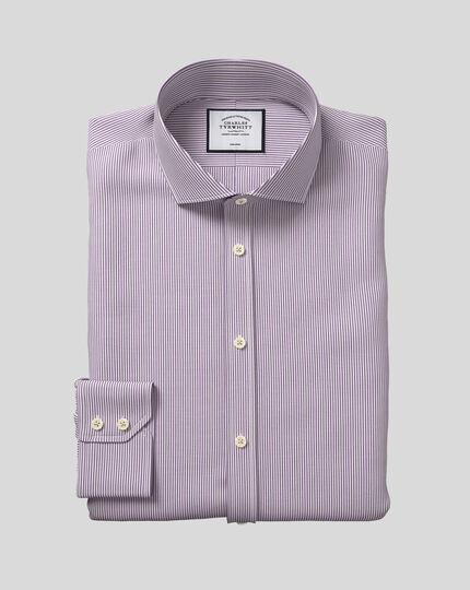 Cutaway Collar Non-Iron Bengal Stripe Shirt - Purple