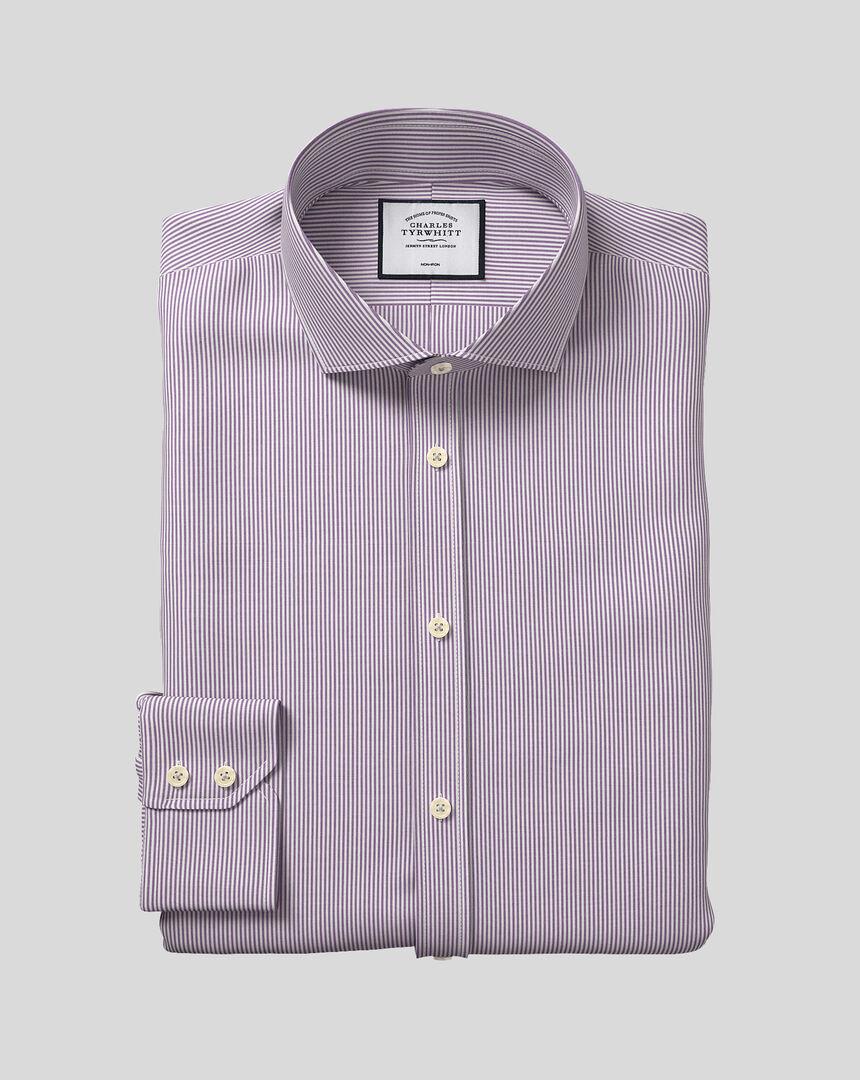 Bügelfreies Hemd mit Haifischkragen und Bengal-Streifen - Violett