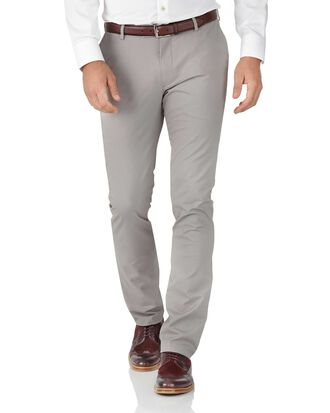 Pantalon chino gris extra slim fit en tissu stretch