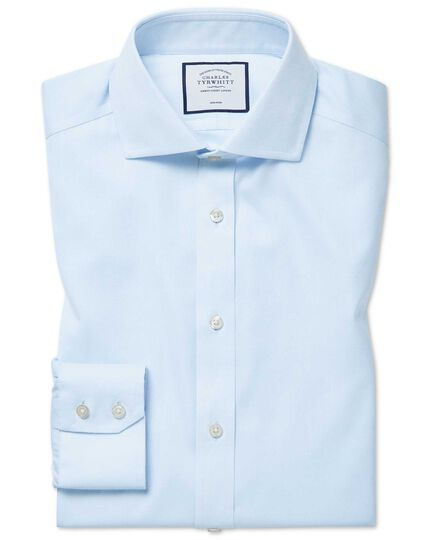 Spread Non-Iron Cotton Stretch Shirt - Light Blue