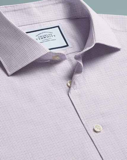Peached Egyptian Cotton Check Shirt - Purple
