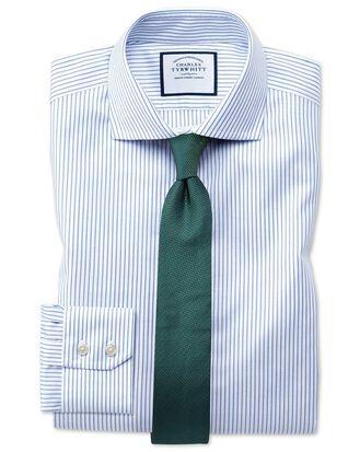 Slim fit spread collar non-iron cotton stretch Oxford stripe blue and white shirt