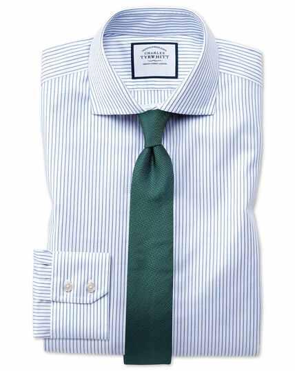 Chemise bleue et blanche en oxford de coton stretch slim fit à col cutaway et rayures sans repassage