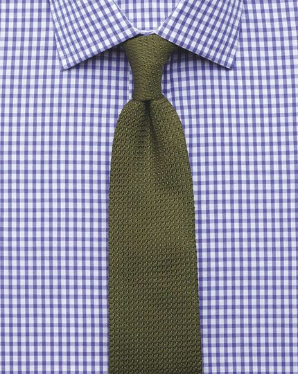 Slim Fit Hemd in Lila mit Gingham-Karos