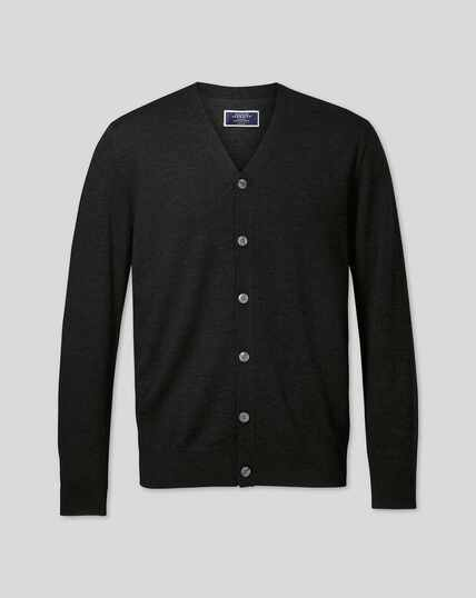 Merino Cardigan - Dark Charcoal