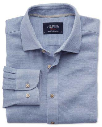 Slim fit mouline mid blue textured shirt