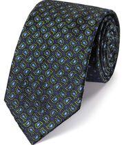 Cravate classique verte en soie à imprimé cachemire