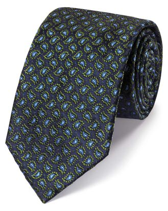Green silk paisley classic tie