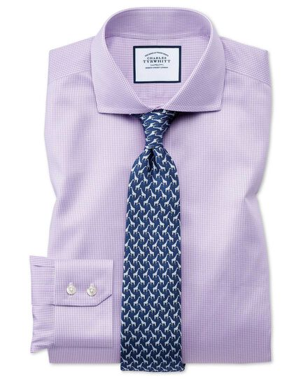 Extra slim fit non-iron lilac puppytooth shirt