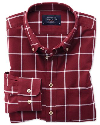 Extra slim fit button-down washed Oxford burgundy and white check shirt