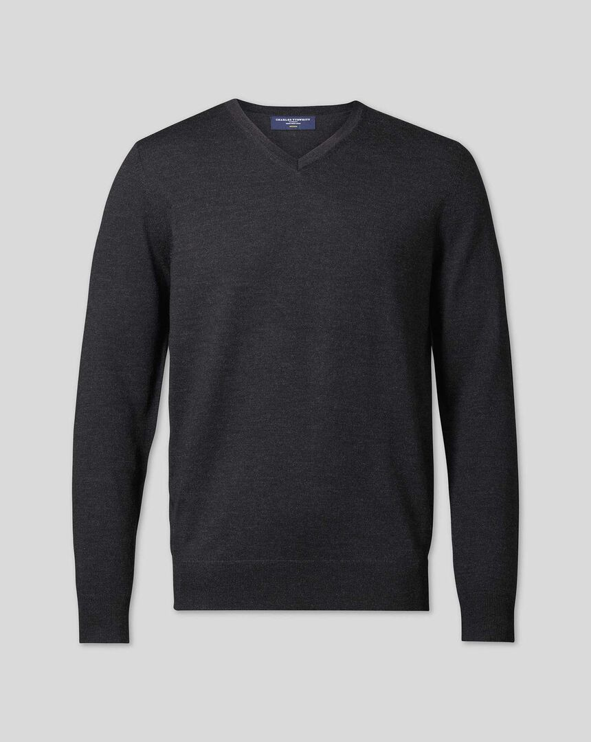 Merino V-neck Sweater - Dark Charcoal