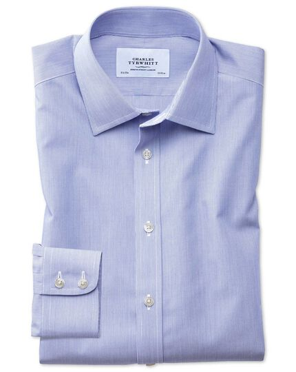 Classic fit non-iron hairline stripe royal blue shirt