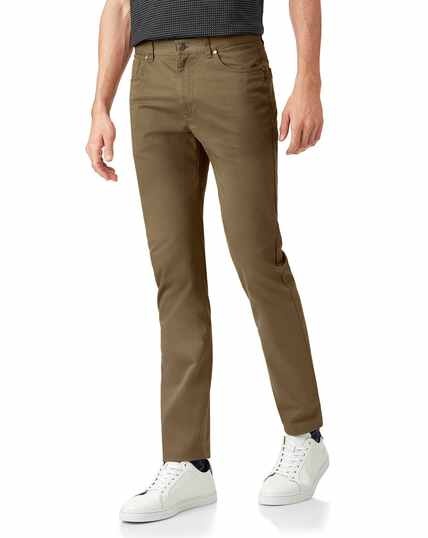Tan cotton stretch 5-pocket trousers