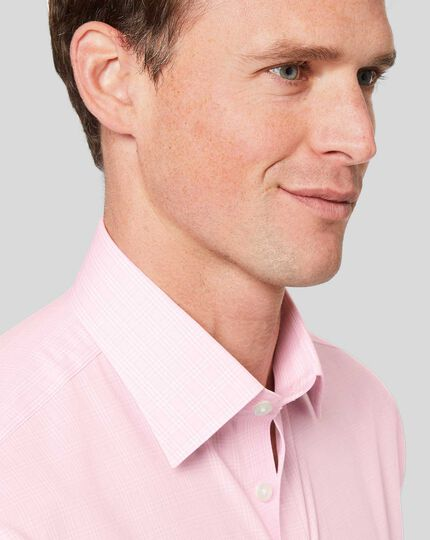 Classic Collar Non-Iron Prince of Wales Check Shirt - Pink