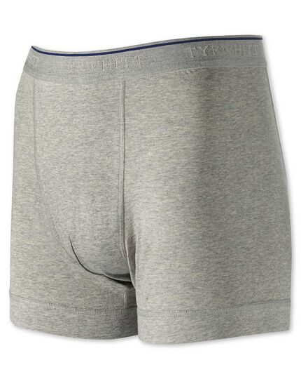 Grey cotton stretch jersey trunks
