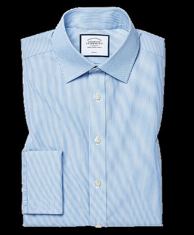Bügelfreies Classic Fit Hemd in Himmelblau mit Bengal-Streifen