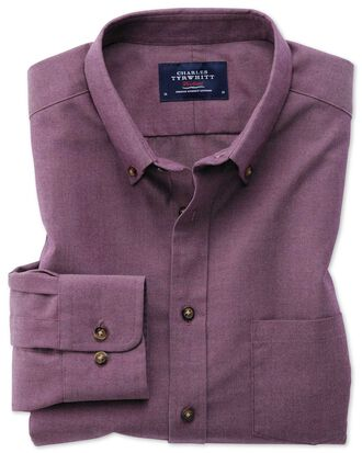 Slim fit button-down non-iron twill purple shirt