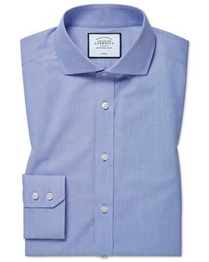 Slim fit non-iron 4-way stretch blue cutaway shirt