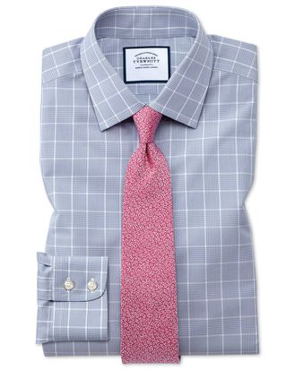 Slim fit non-iron Prince of Wales grey shirt