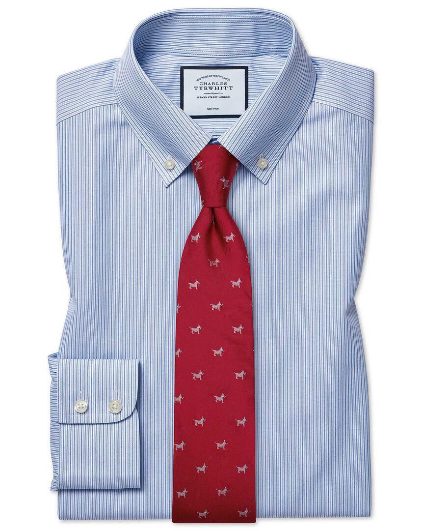 Slim fit non-iron stripe button-down blue shirt
