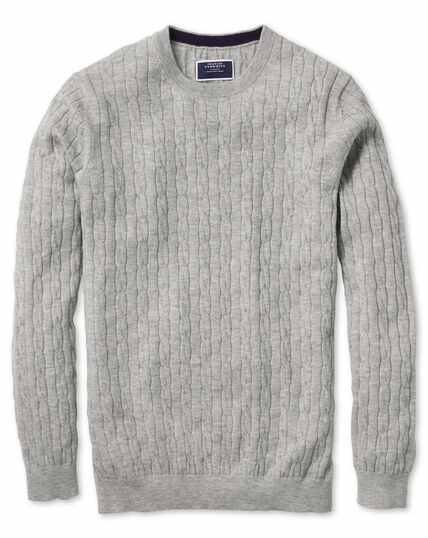 Light grey crew neck lambswool cable knit jumper