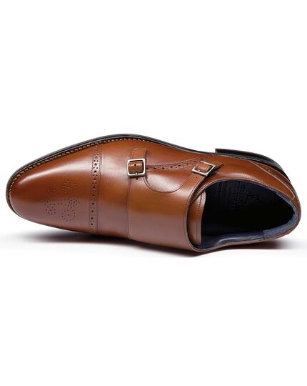 Tan Goodyear welted double buckle monk performance shoe