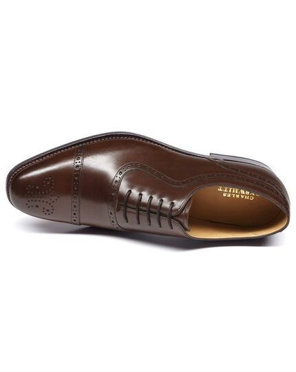 Chocolate Goodyear welted Oxford brogue leather sole shoe