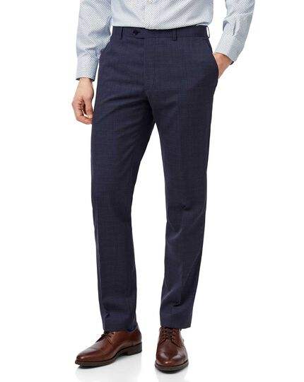 Airforce blue slim fit merino business suit trousers