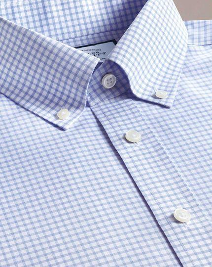 Classic fit non-iron sky blue windowpane check shirt