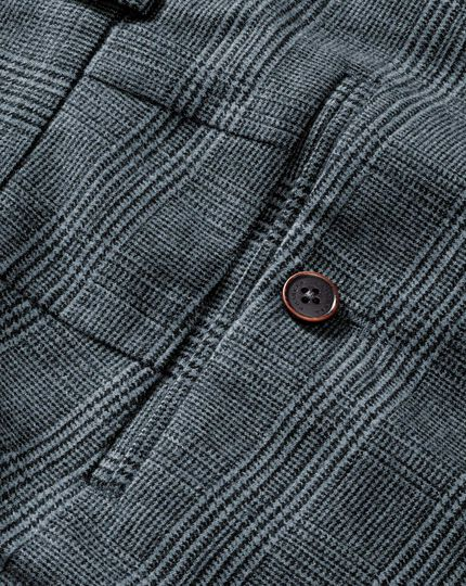 Blue classic fit cotton flannel check pants