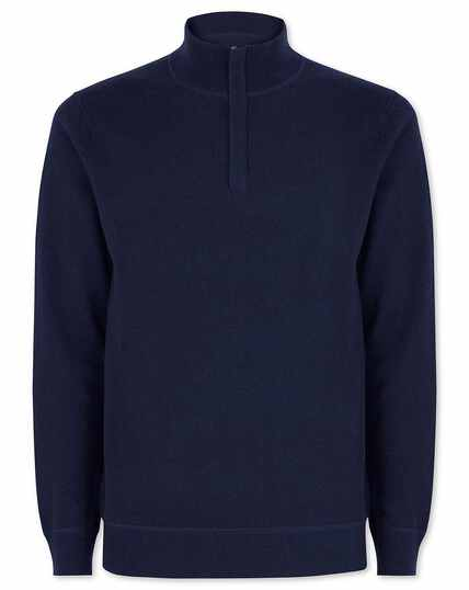 Navy merino cashmere zip neck jumper