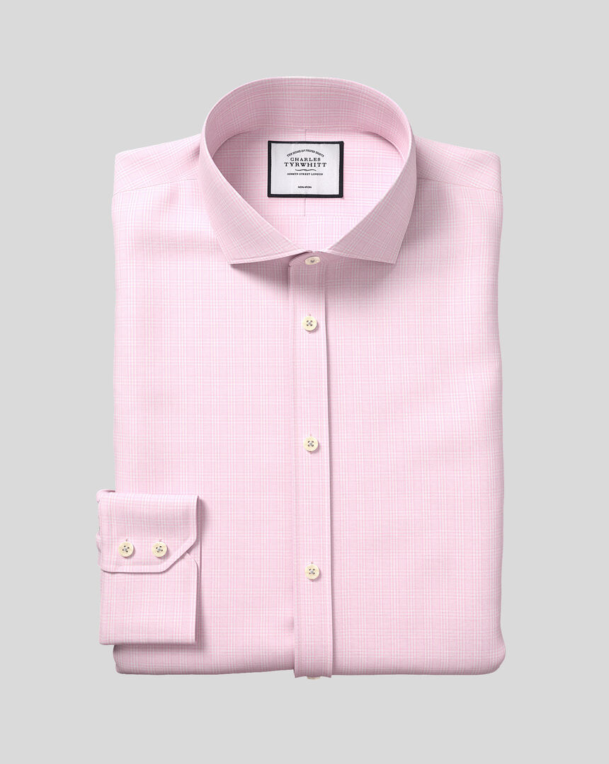Bügelfreies kariertes Prince-of-Wales-Hemd mit Haifischkragen - Rosa