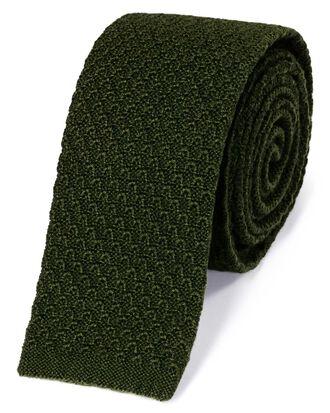 Schmale klassische Strickkrawatte aus Wolle in Waldgrün