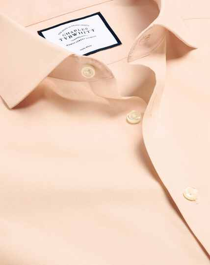 Spread Collar Non-Iron Poplin Shirt - Peach