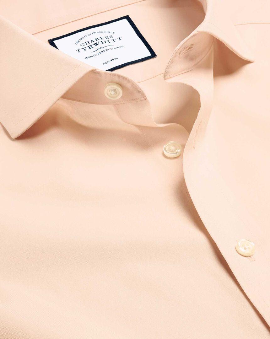 Bügelfreies Popeline-Hemd mit Haifischkragen - Pfirsich