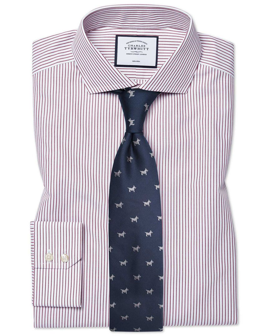 Extra slim fit cutaway non-iron stripe burgundy shirt