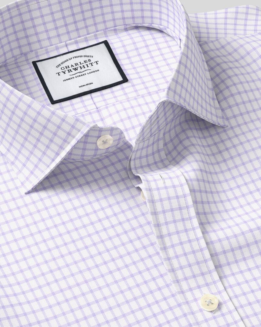 Cutaway Collar Non-Iron Cotton with TENCEL™ x REFIBRA™ Check Shirt - Lilac