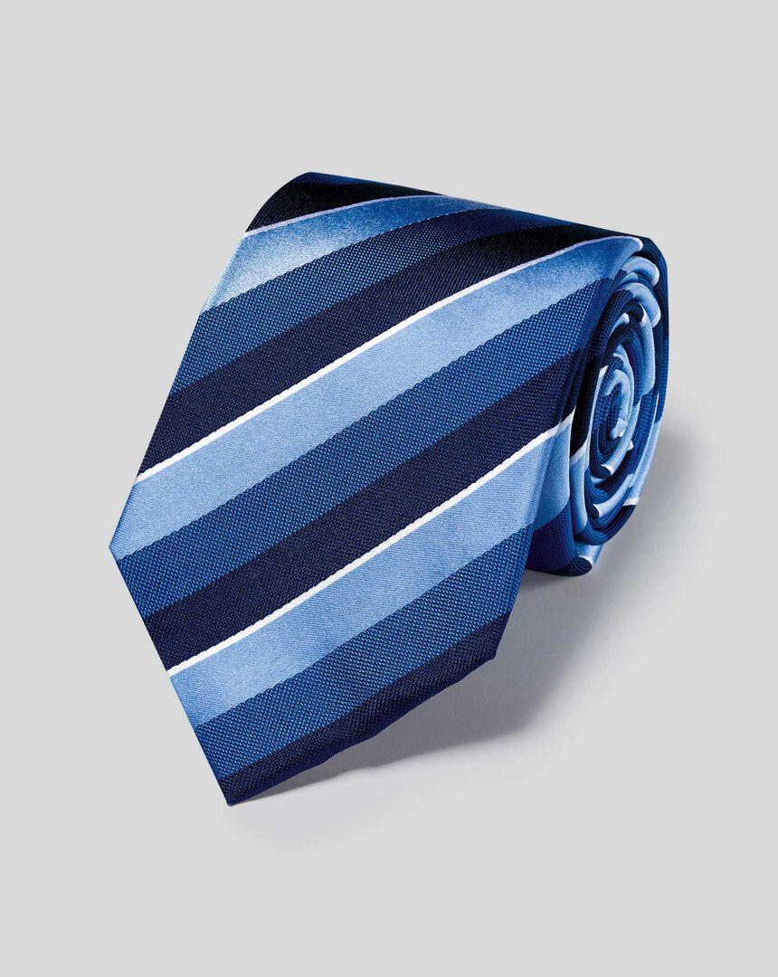 Satin-Krawatte aus Seide mit Streifen - Blau