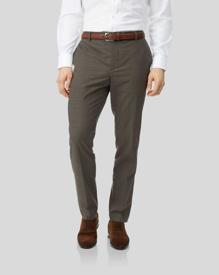 Cotton Linen Stretch Trousers - Brown