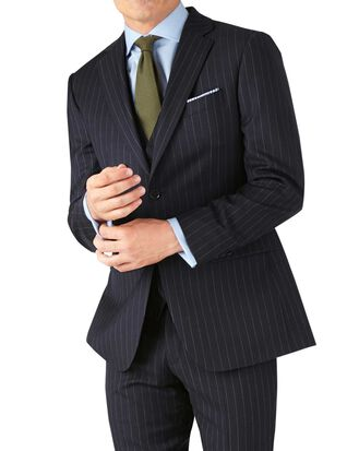 Navy stripe slim fit twill business suit jacket