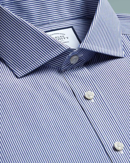 Slim fit non-iron cutaway navy Bengal stripe shirt