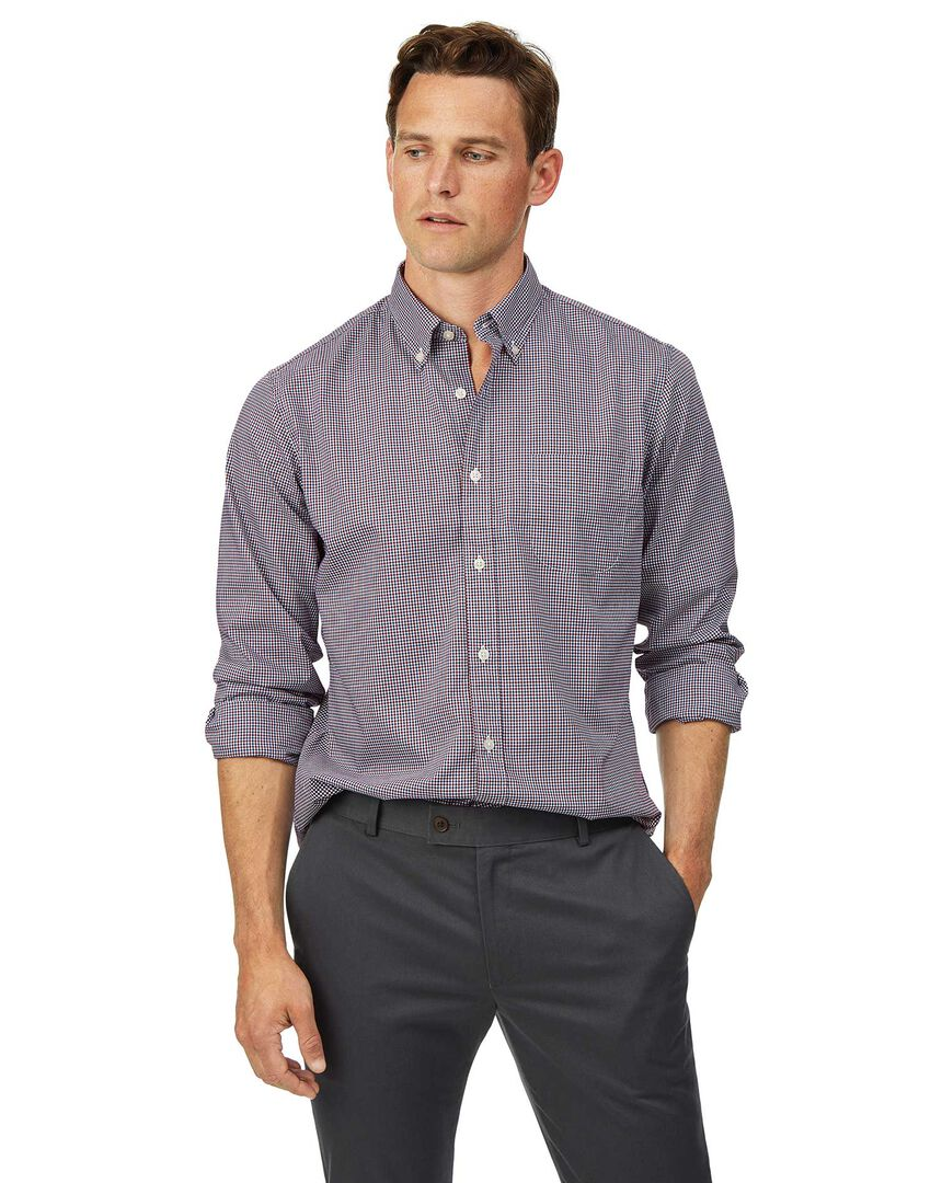 Slim fit soft washed non-iron stretch poplin red and blue check shirt