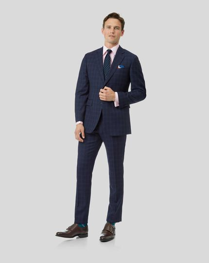 Check Birdseye Travel Suit - Navy
