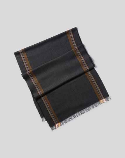Lightweight Merino Herringbone Scarf - Charcoal