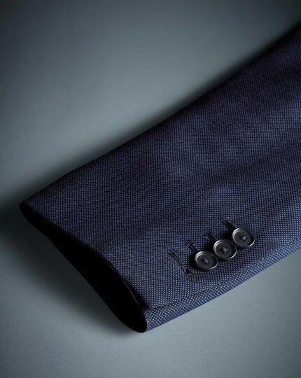 Airforce blue slim fit birdseye travel suit jacket