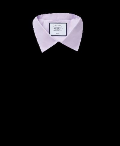 Chemise lilas en popeline coupe droite sans repassage