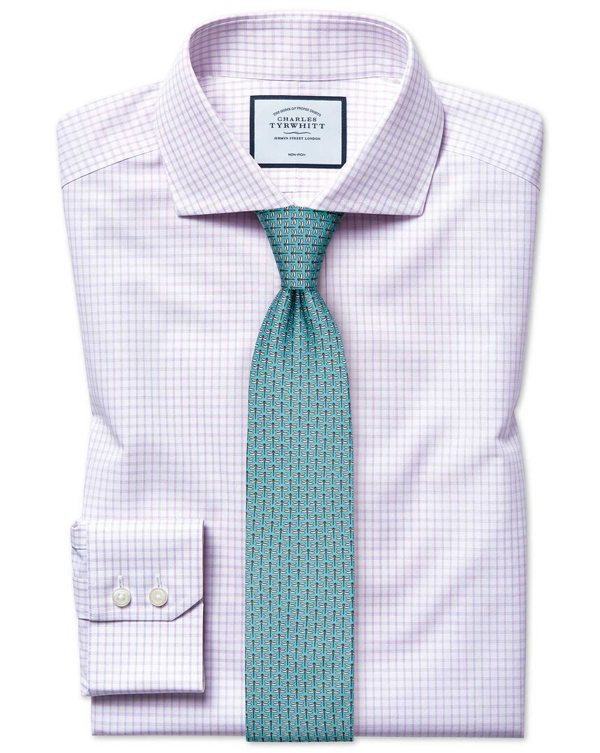 Slim fit non-iron cutaway 4-way stretch lilac check shirt